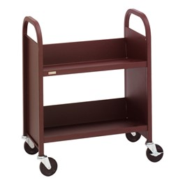 """32\"""" H Traditional Single-Sided Book Cart - Shown in cabernet burgundy"""
