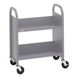 """32\"""" H Traditional Single-Sided Book Cart - Shown in aluminum gray"""