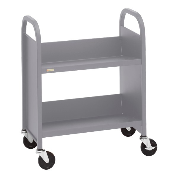 "32"" H Traditional Single-Sided Book Cart - Shown in aluminum gray"