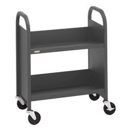 "32"" H Traditional Single-Sided Book Cart - Shown in anthracite gray"