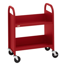 "32"" H Traditional Single-Sided Book Cart - Shown in cardinal red"