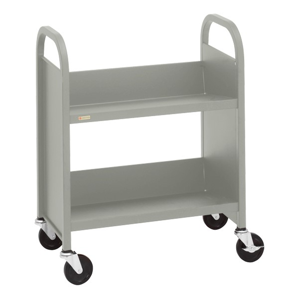 "32"" H Traditional Single-Sided Book Cart - Shown in gray mist"