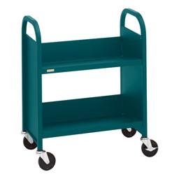 "32"" H Traditional Single-Sided Book Cart - Shown in polo green"