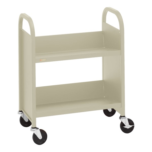 "32"" H Traditional Single-Sided Book Cart - Shown in putty beige"
