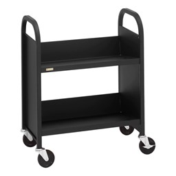"32"" H Traditional Single-Sided Book Cart - Shown in raven black"
