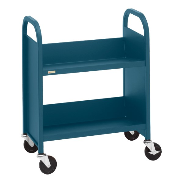 "32"" H Traditional Single-Sided Book Cart - Shown in topaz blue"