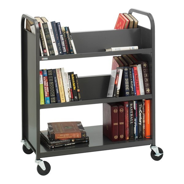 Traditional Double-Sided Book Cart - Shown in raven black