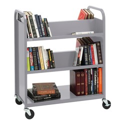 Traditional Double-Sided Book Cart - Shown in aluminum gray