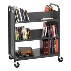 Traditional Double-Sided Book Cart - Shown in anthracite gray