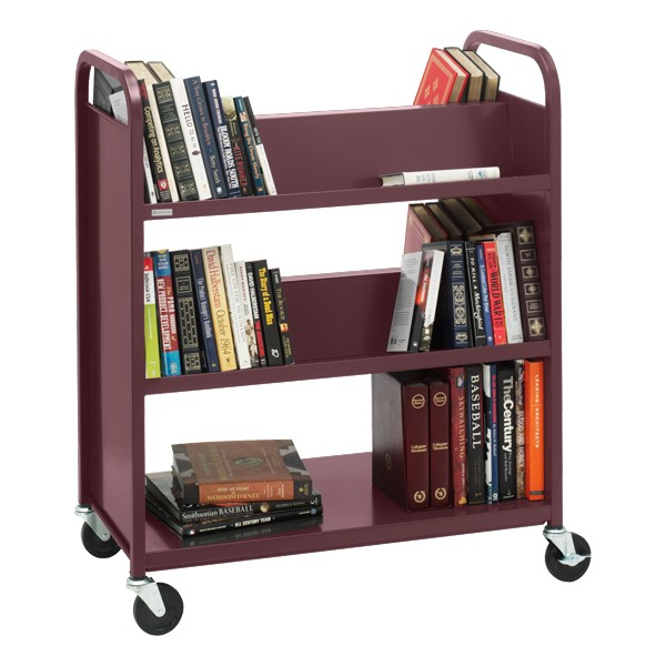 Traditional Double-Sided Book Cart - Shown in cabernet burgundy