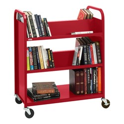 Traditional Double-Sided Book Truck - Shown in cardinal red
