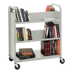 Traditional Double-Sided Book Cart - Shown in gray mist