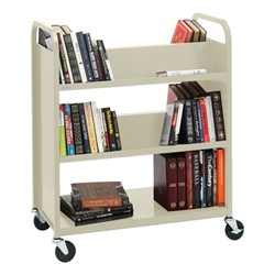 Traditional Double-Sided Book Cart - Shown in putty beige