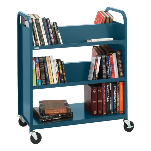 Traditional Double-Sided Book Cart - Shown in topaz blue