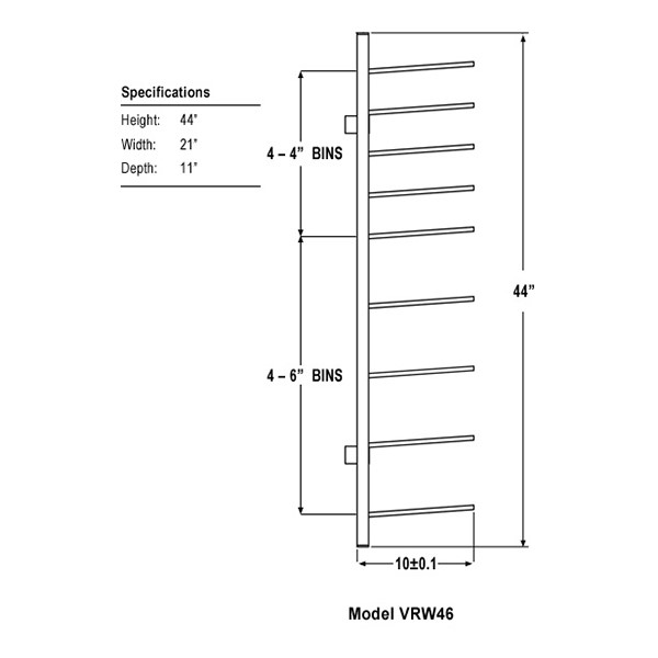 """Wall-Mount Blueprint Storage Rack - Four 6"""" H Openings & Four 4"""" H Openings - Dimensions"""