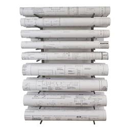 "Wall-Mount Blueprint Storage Rack - Eight 5"" H Openings"