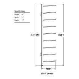 """Wall-Mount Blueprint Storage Rack - Eight 5"""" H Openings - Dimensions"""