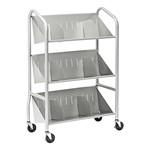 Sloped Three-Shelf Book Cart w/ Dividers