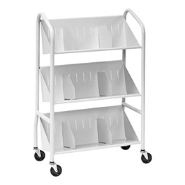 Sloped Three-Shelf Book Cart w/ Dividers - Platinum