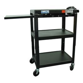 Adjustable Steel AV Cart w/ Extendable Side Shelf