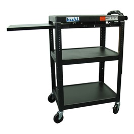 Adjustable Steel AV Cart w/ Extendable Side Shelf