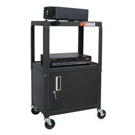 Adjustable Steel AV Cart w/ Cabinet
