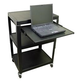 Adjustable Steel AV Cart w/ One Extendable Shelf