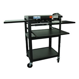 Adjustable Steel AV Cart w/ Three Extendable Shelves