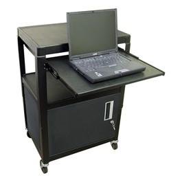 Adjustable Steel AV Cart w/ Cabinet & Keyboard Shelf