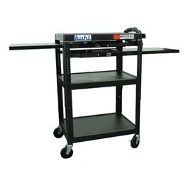 Adjustable Steel AV Cart w/ Two Extendable Side Shelves