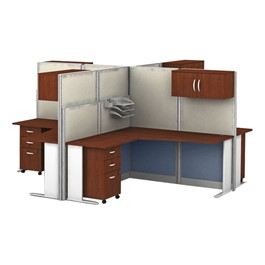 Office-In-An-Hour Four-Desk L-Shaped Workstation