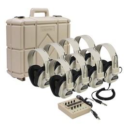 2924AVP Headphones w/ Jack Box & Carrying Case - Eight Headphones