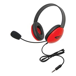 Colorful Preschool Headphones w/ Mic & Mobile-Ready Plug - Red