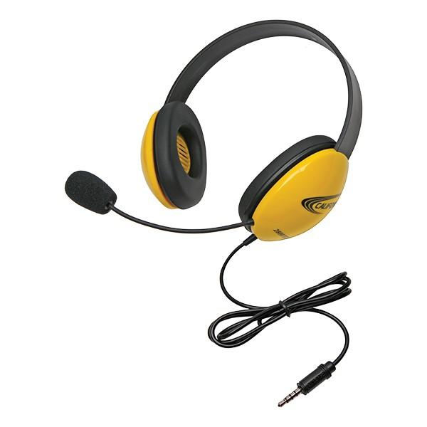 Colorful Preschool Headphones w/ Mic & Mobile-Ready Plug - Yellow