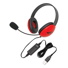 Colorful Preschool Headphones w/ USB Plug - Red