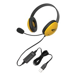 Colorful Preschool Headphones w/ USB Plug - Yellow
