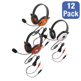 Pack of 12 Animal Preschool Headphones w/ Mics