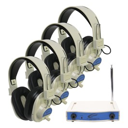 Four-Station Wireless Headphone Listening Center - 4 Headphone Package - 72.500 MHz Frequency