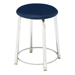 "7000 Series Solid Plastic Stool - Fixed Height (18"" H) - Navy"