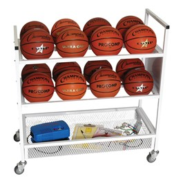 Double-Wide Ball Cart - Holds 16 Basketballs & Accessories