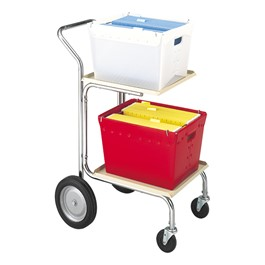 Compact Mail Cart w/ Corrugated Plastic Baskets