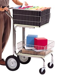 Compact Mail Cart w/ Wire Baskets