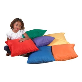 Cozy Primary Floor Pillows - Set of Six