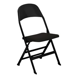 2517 Series Folding Chair w/ Vinyl Seat - Black vinyl w/ black frame