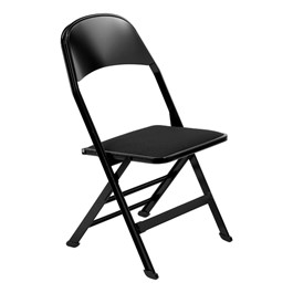 2517 Series Folding Chair w/ Fabric-Upholstered Seat - Black fabric w/ black frame