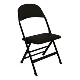 2617 Series Folding Chair w/ Vinyl-Upholstered Seat & Back - Black vinyl w/ black frame