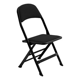 2617 Series Folding Chair w/ Fabric-Upholstered Seat & Back - Black fabric w/ black frame