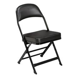 3400 Series Folding Chair w/ Vinyl-Upholstered Seat & Back - Black vinyl w/ black frame