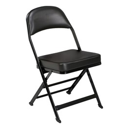 3400 Series Folding Chair w/ Vinyl-Upholstered Seat & Back - Black vinyl w/ black frame