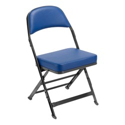 3400 Series Folding Chair w/ Vinyl-Upholstered Seat & Back - Navy vinyl w/ black frame